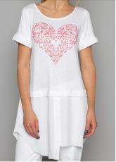 Arte Pura Daniela Dallavalle langes T-Shirt mit Kurzarm in weiß  AP.C30010