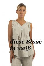 Elisa Cavaletti kurze ärmellose Bluse A-Form weiß bianco ELP219059503 Sommer 2021