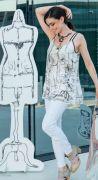 Elisa Cavaletti kurzes Top schwarz weiß Tunika ELP199069400 Frühjahr Sommer 2019