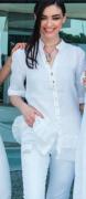 Elisa Cavaletti weiße Leinenbluse mit Rückstickerei Bluse Kaftan ELP191047801 Sommer 2019