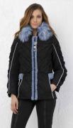Elisa Cavaletti kurze Jacke schwarz mit Kunstfellkragen schwarz EJW198021700