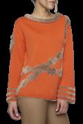 Elisa Cavaletti kuscheliger Strickpulli Pullover mit Plüsch orange EJW204026200 Herbst Winter 2020 2021